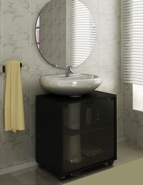 Móvel 5  Gabinete em MDF para Banheiro com Lavatório de Coluna  Alfazema -> Gabinete Para Pia De Banheiro Com Coluna
