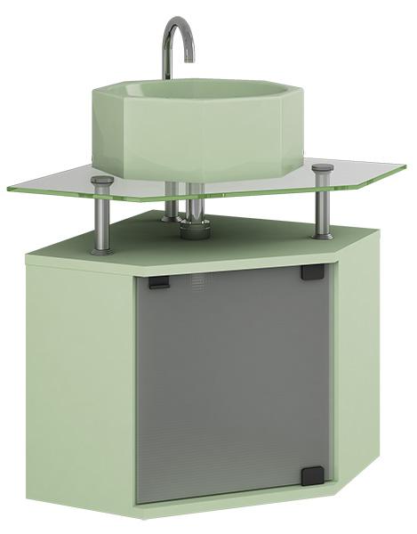 Móvel 5  Gabinete em MDFVidro com Cuba para Banheiro  Armário Rubi -> Gabinete De Banheiro Canto