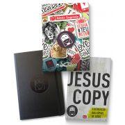 KIT 01 - FRETE GRÁTIS = BÍBLIA ADESIVO + MOLESKINE + LIVRO: JESUSCOPY