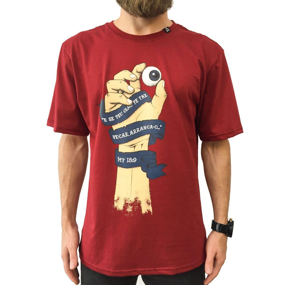 Camiseta Mão e Olho (Mateus 18:9)  - Jesuscopy