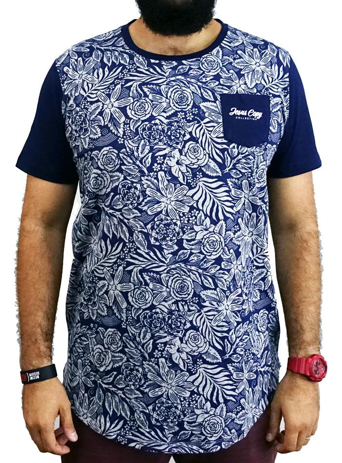 Camiseta Jardim do Éden Masculina Azul - #REINODEPONTACABEÇA  - Jesuscopy