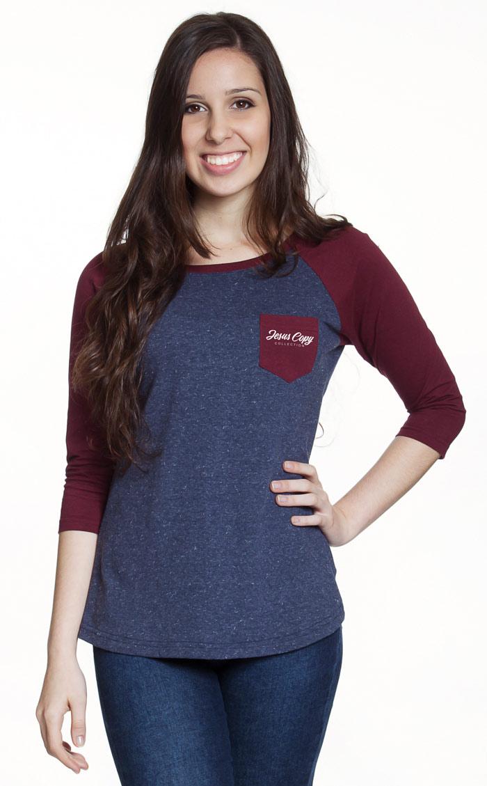 Camiseta Raglan Vinho - feminina  - Jesuscopy