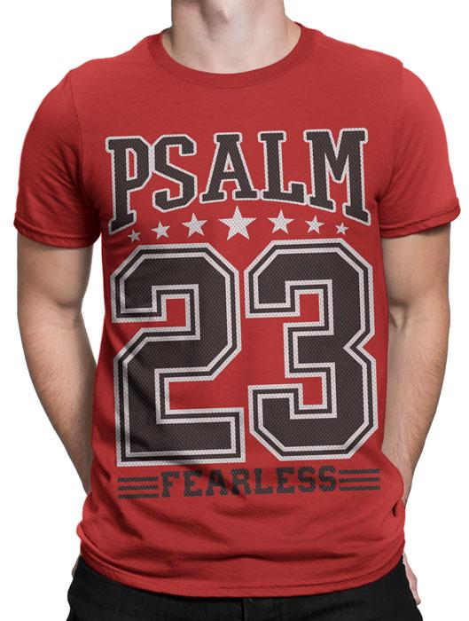Camiseta Salmos 23 Masculina- Vermelha  - Jesuscopy
