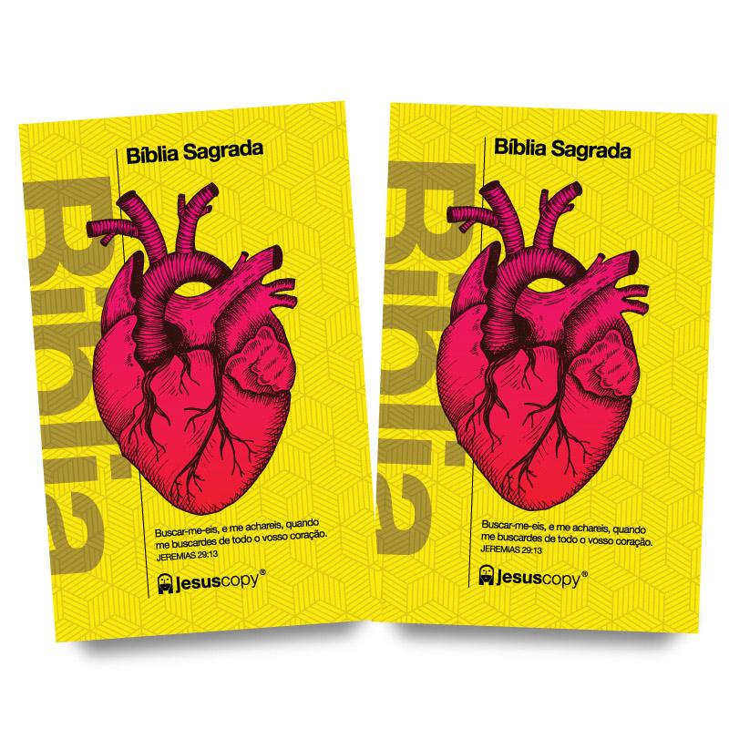 KIT 07 - FRETE GRÁTIS - BÍBLIA Coração Amarela + BÍBLIA Coração Amarela   - Jesuscopy