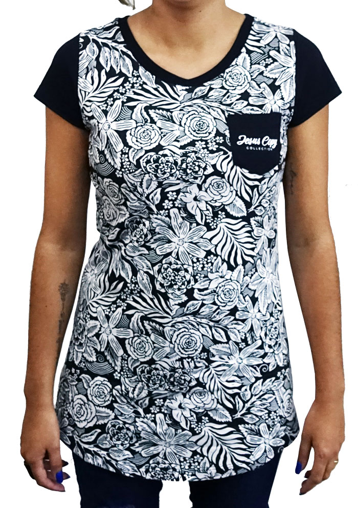 Camiseta Jardim do Éden Feminina Preta - #REINODEPONTACABEÇA  - Jesuscopy