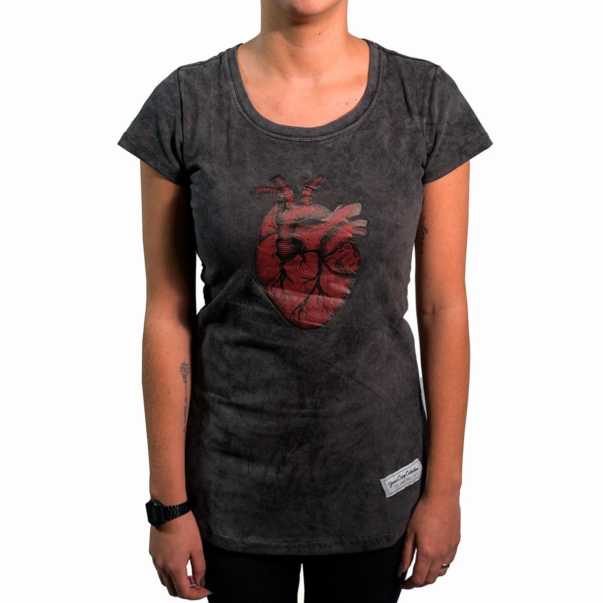 Camiseta Coração Jesuscopy Feminina - #REINODEPONTACABEÇA  - Jesuscopy