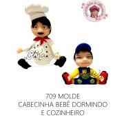 MOLDE CABEÇA BEBÊ DORMINDO E COZINHEIRO