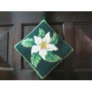 Almofadinha de Porta Flor Branca Fundo Verde