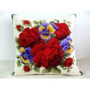 Almofada Grande Arranjo de Rosas Vermelhas