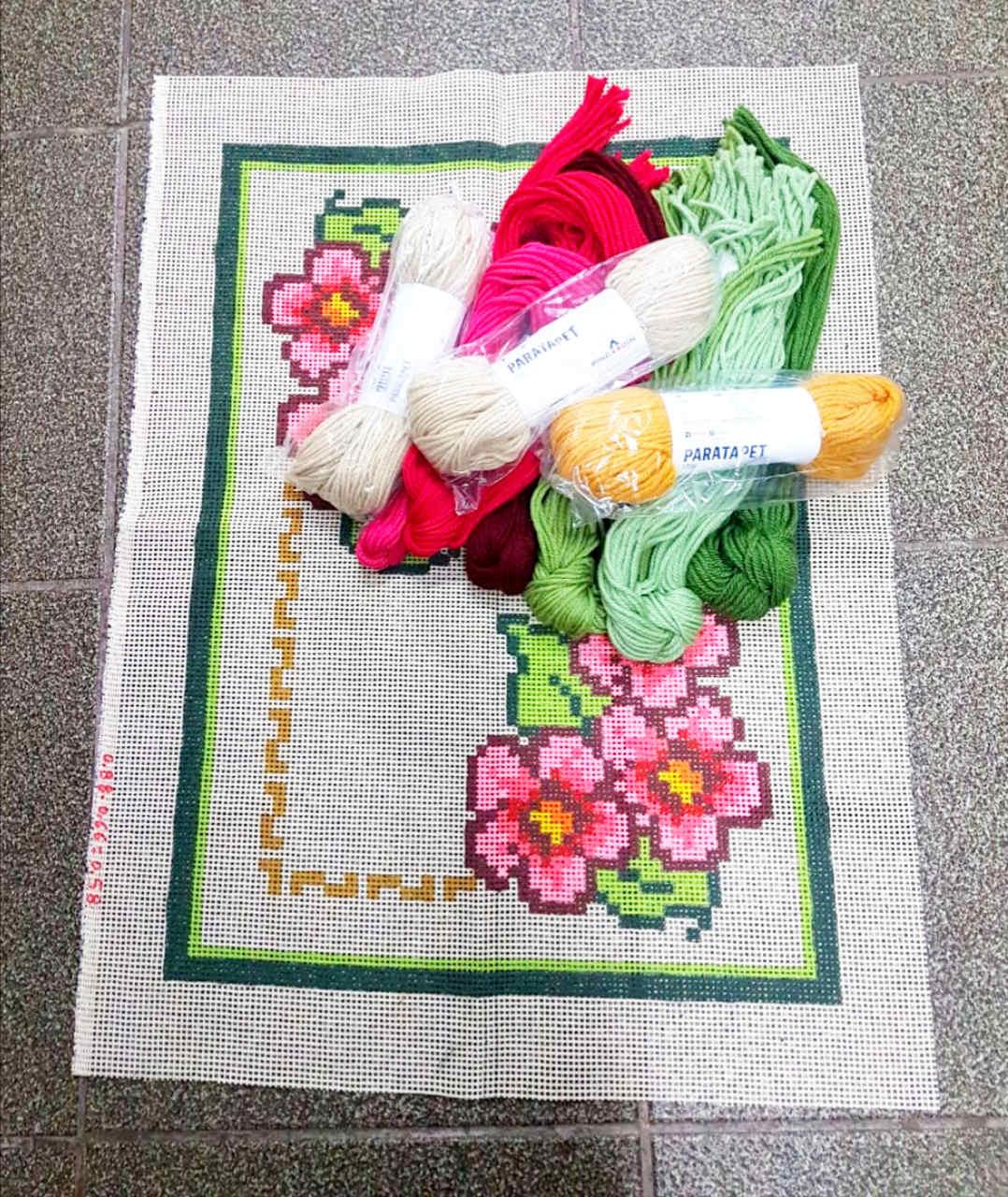 Kit Tapete Flores Cor-de-Rosa  - Conceição Spinola Tapeçaria