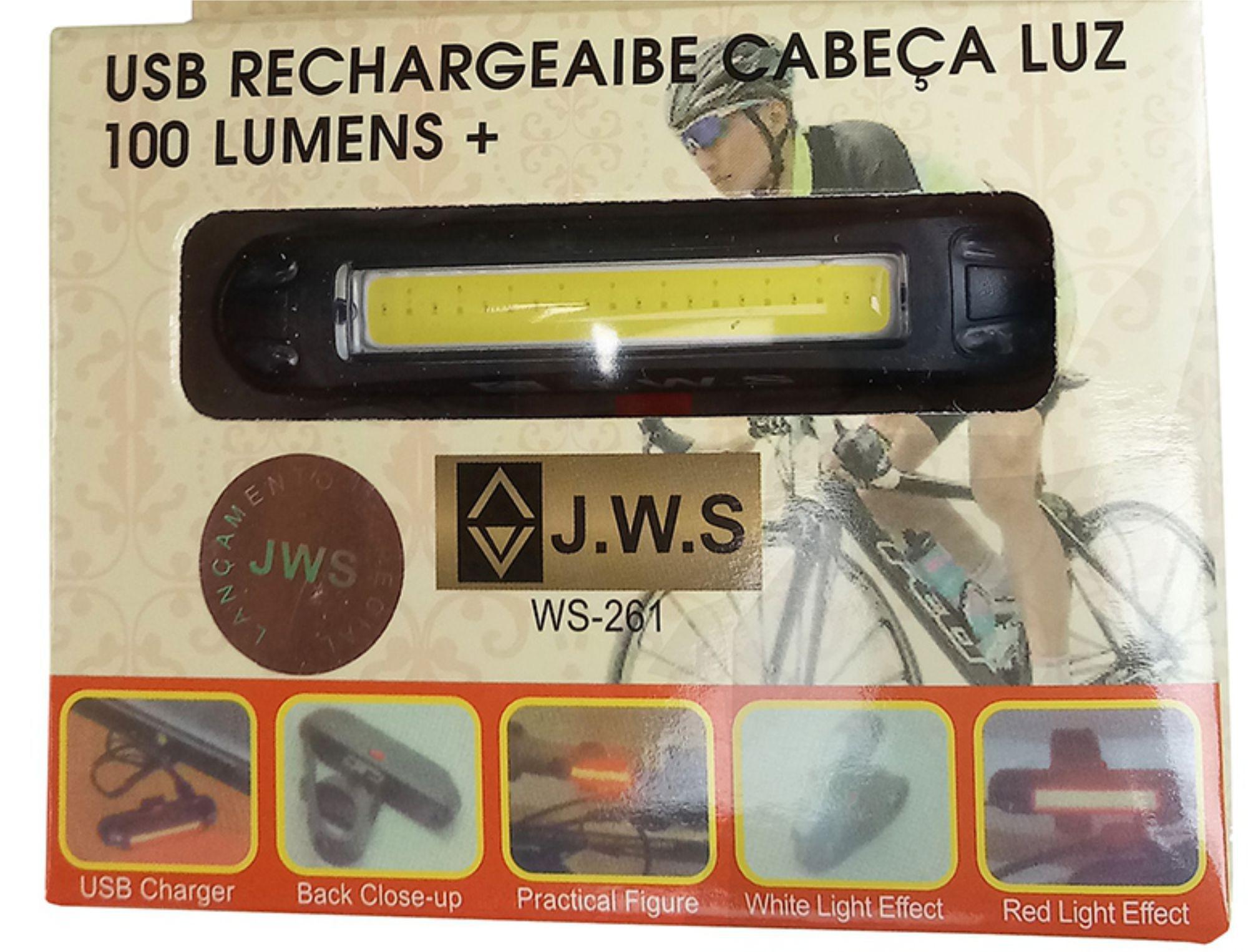 Sinalizador com Led 100 Lumens JWS WS-261 Recarregável USB Led Vermelho e Branco 5 Modos Super Forte