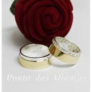 Alianças de Ouro e Prata - Casamento ou Noivado - 3093