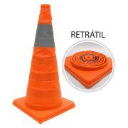 Cone de Sinalização Retrátil 62cm com Faixa Refletiva