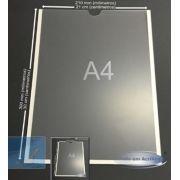 Display Porta Folha de Parede Vertical em Acrílico A4