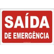"""Placa de Sinalização em PVC 2mm """"Saída de Emergência"""" 15x30cm"""