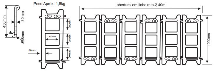 Barreira Modular Articulável em Polietileno