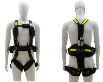 """Cinto Paraquedista com Ferragem em Inox - Acolchoado na Lombar e nas pernas - 3 Argolas em """"D"""" de Aço"""