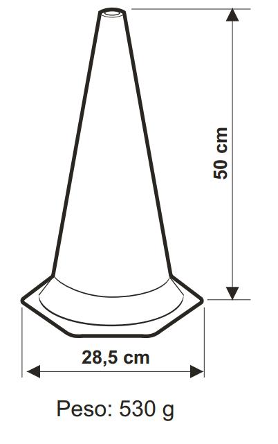 Cone de Sinalização em Polietileno Zebrado 50cm