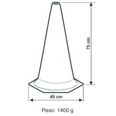 Cone de Sinalização em Polietileno Zebrado 75 cm