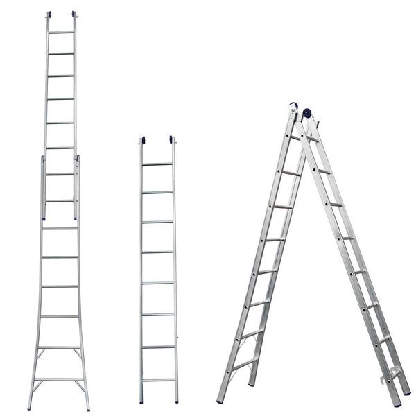Escada  de Alumínio Dupla Extensível 2 x 8 Degraus
