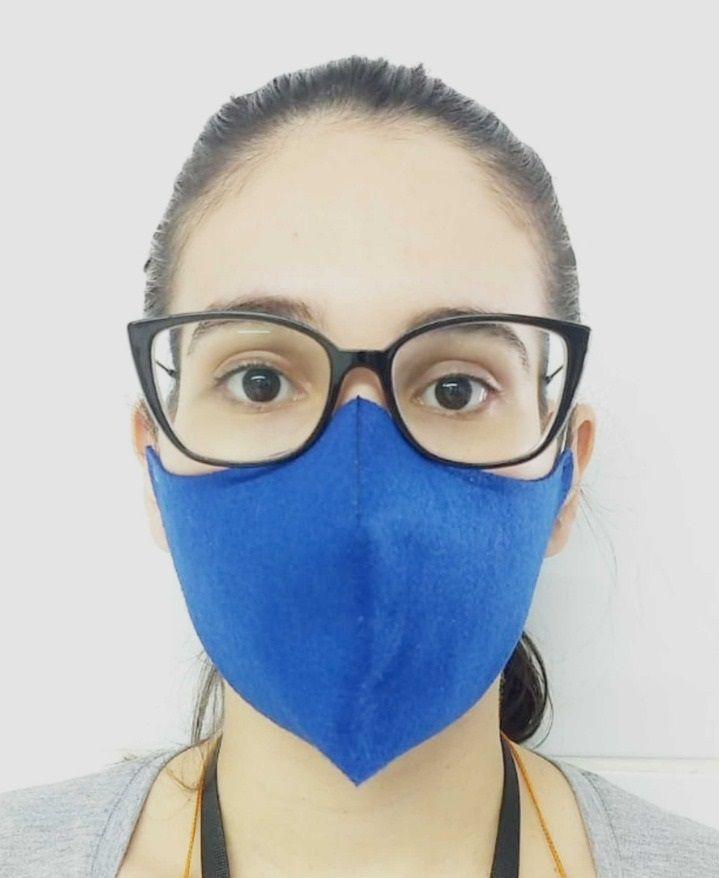 Máscara de Proteção em Feltro 100% Poliéster de 177g/m - Cor Azul - Pacote 5 unidades