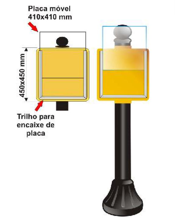 Pedestal Personalizado Placa Móvel A4