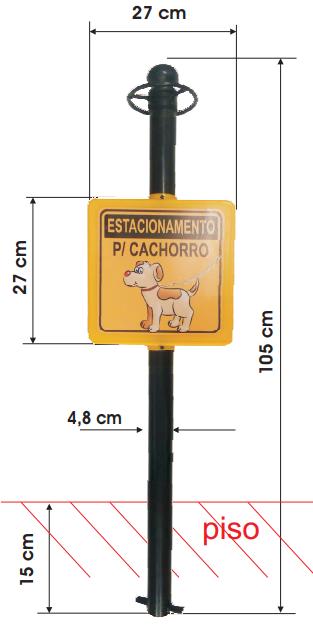 Pedestal Tuboart Personalizado - Estacionamento para cachorros