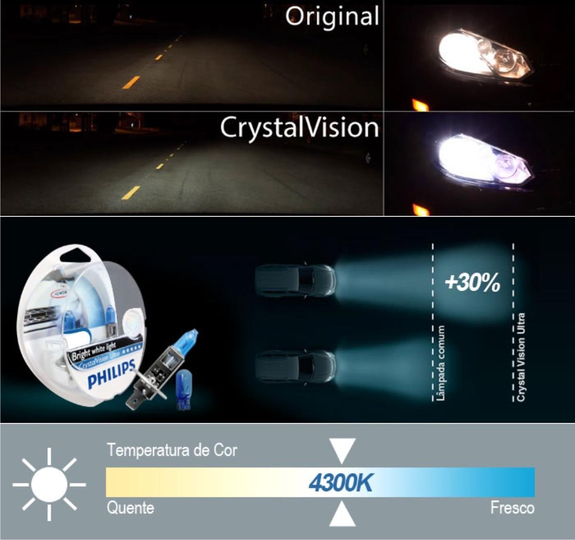 Kit Lampada Philips Crystal Vision H1 55w 12v + Par de Pingos - Efeito Xenon