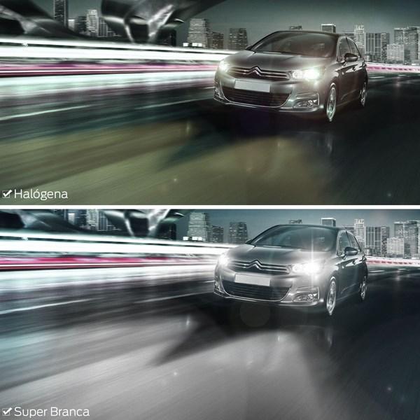 LAMPADA SUPER BRANCA CARRO H11 55 WATTS EFEITO XENON PAR 6000K