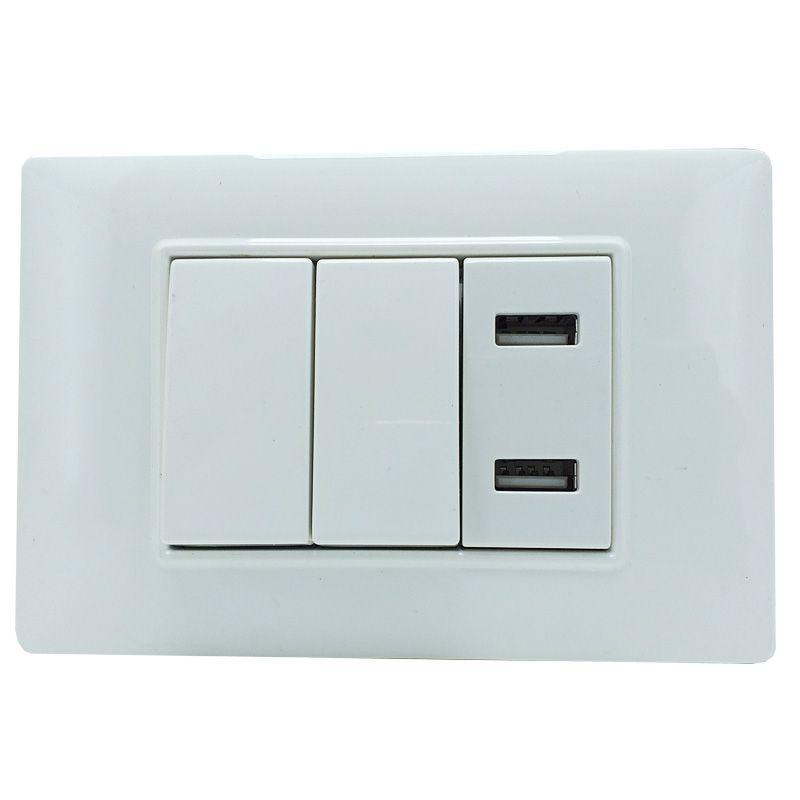 Interruptor Duplo e 2 Entradas USB Adaptador Celular Parede  - a3mmagazine