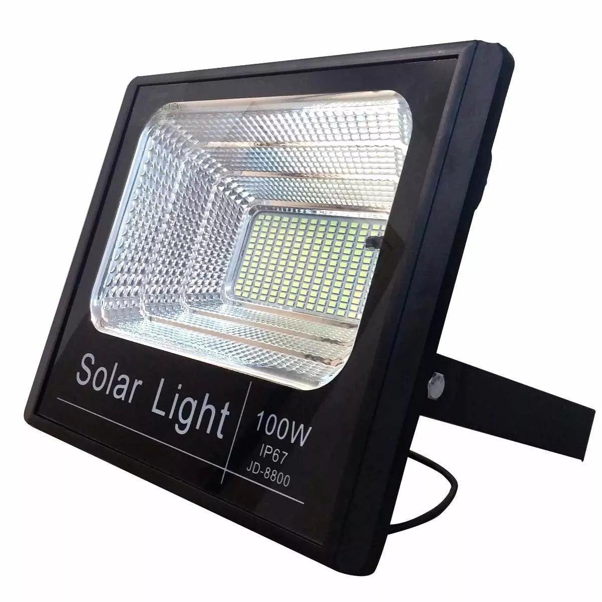 Refletor Holofote Led Solar 100w Real Placa Completo  - a3mmagazine
