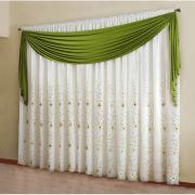 Cortina Voal Bordado e Bandô 3,00x 2,50  - Bali - Verde e Branca