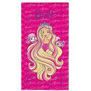 Toalha Aveludada Barbie Reino dos Penteados 70cm x 1,40m - Lepper