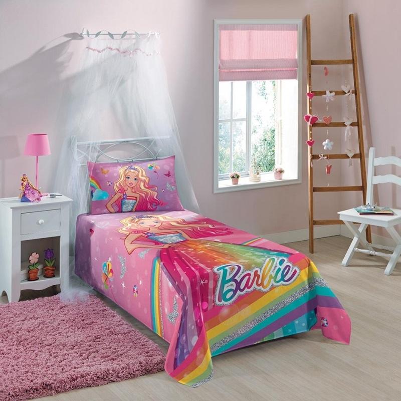 Colcha Simples Barbie Reino do Arco-Iris   Lepper