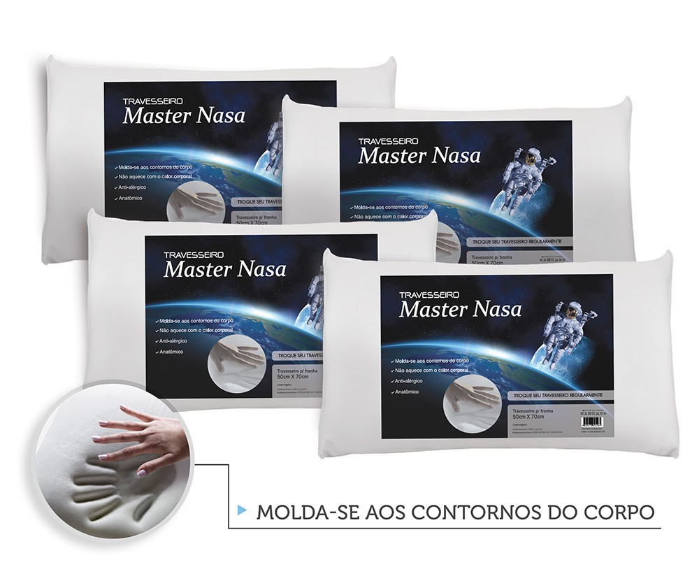 Kit Travesseiro Nasa 4 Pecas - Antialergico - Toque Macio