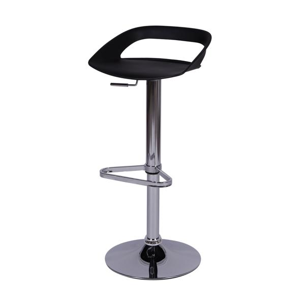 Banqueta Enseada Assento em polipropileno e base cromada Preta - Moln Design Furniture