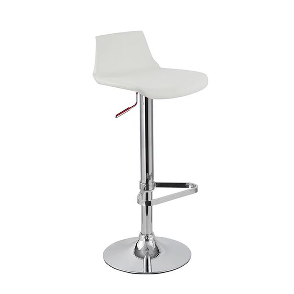 Banqueta Kim Assento em polipropileno e base cromada Branca - Moln Design Furniture