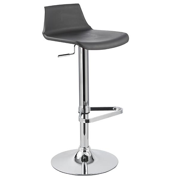 Banqueta Kim Assento em polipropileno e base cromada Preta - Moln Design Furniture