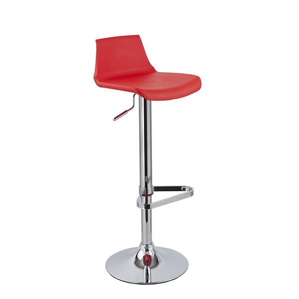 Banqueta Kim Assento em polipropileno e base cromada Vermelha - Moln Design Furniture