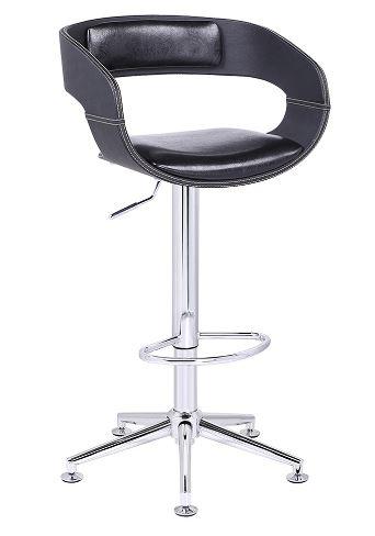 Banqueta Londrina PU Preta Base Estrela - Moln Design Furniture