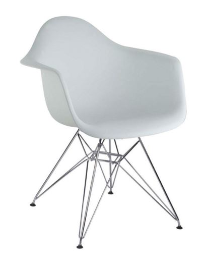 Cadeira Eiffel Charles Eames Com Braço em PP Branca Base Cromado - Moln Design Furniture