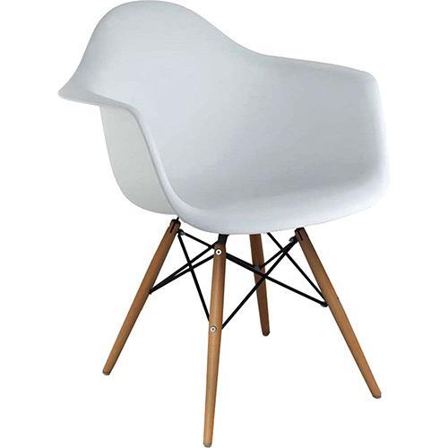 Cadeira Eiffel Charles Eames Com Braço em PP Branca Base em Madeira - Moln Design Furniture