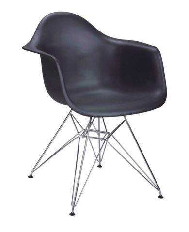 Cadeira Eiffel Charles Eames Com Braço em PP Preta Base Cromado - Moln Design Furniture