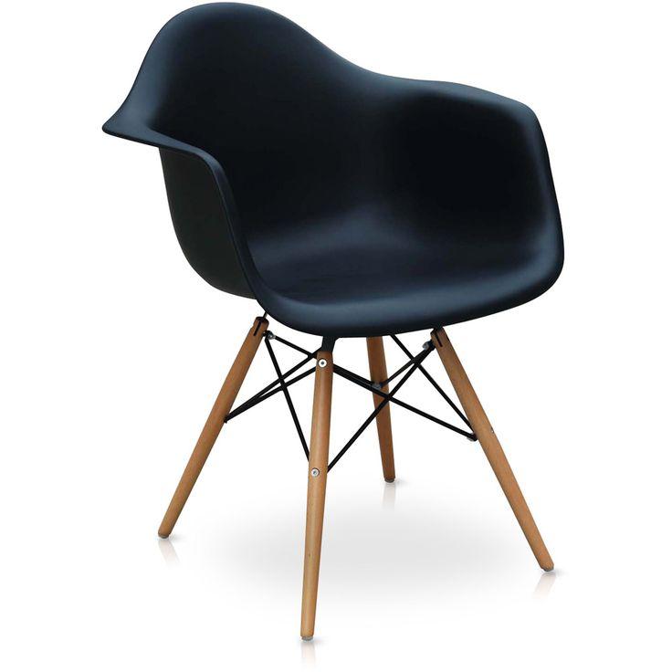 Cadeira Eiffel Charles Eames Com Braço em PP Preta Base em Madeira - Moln Design Furniture