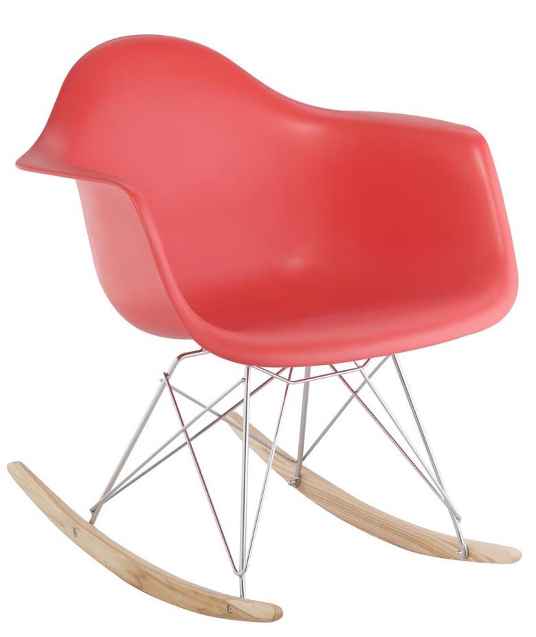 Cadeira Eiffel Charles Eames Com Braço em PP Vermelha Base Balanco - Moln Design Furniture