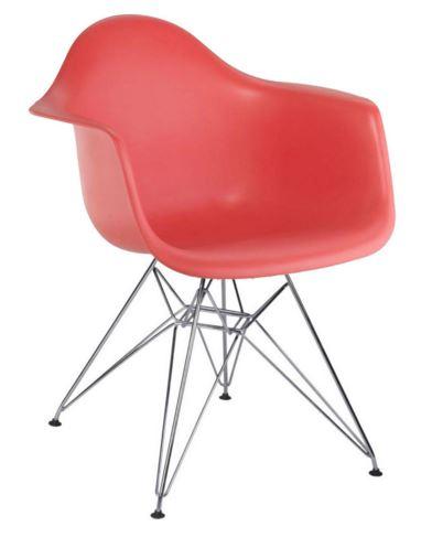 Cadeira Eiffel Charles Eames Com Braço em PP Vermelha Base Cromado - Moln Design Furniture