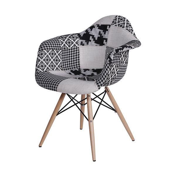 Cadeira Eiffel Charles Eames Com Braço PatchWork Preto e Branco - Moln Design Furniture