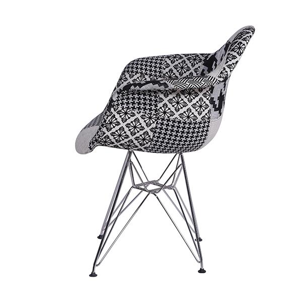 Cadeira Eiffel Charles Eames Com Braço PatchWork Preto e Branco Base Cromada - Moln Design Furniture