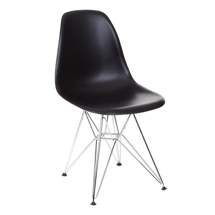 Cadeira Eiffel Charles Eames em Polipropileno Preta Base Aco Cromado - Moln Design Furniture