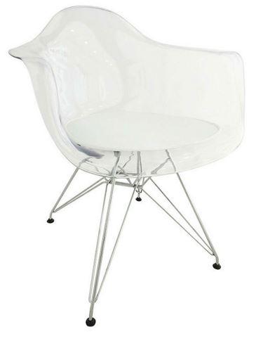 Cadeira Eiffel Com Bracos e Almofada Branca - Moln Design Furniture